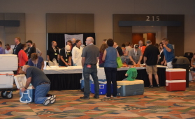 Attendees at this year's AAMP Convention line up to submit their products for the 2016 American Cured Meat Championships.