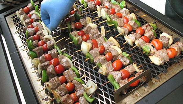 BBQ kabobs on grill