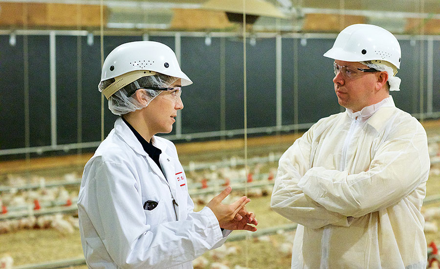 The National Provisioner's Andy Hanacek tours a Foster Farms organic chicken house with Diana Robinson