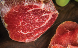 Bresaola is a dry-cured whole-muscle beef cut