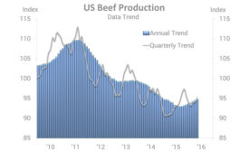 U.S. Beef Production data trend 2010-2016