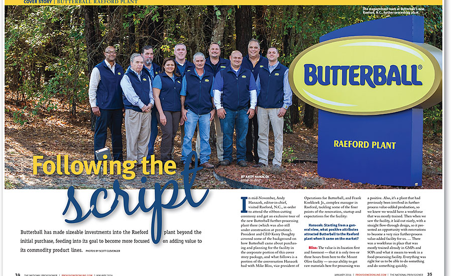 2016 Plant Of The Year Butterball Llc Raeford N C