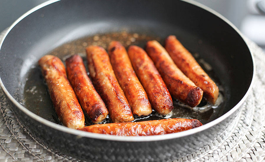 Breakfast Sausage Links in Frying Pan