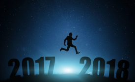 Man Jumping from 2017 Into 2018