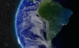 Aerial View of Earth Focused on South America