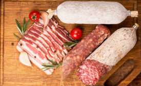 Various Pork Meats on Cutting Board