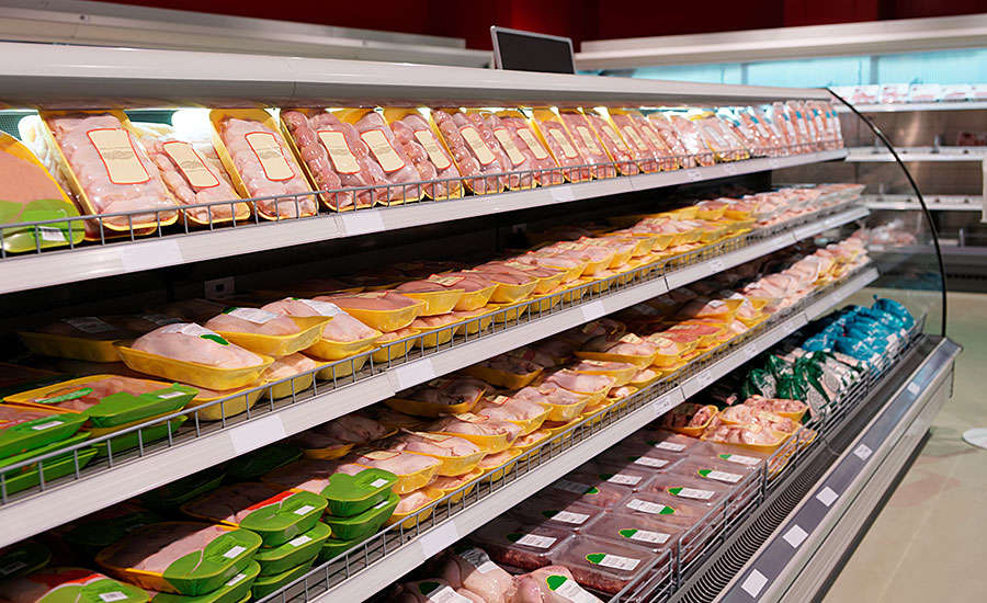 Packages of Poultry Meats on Store Shelves