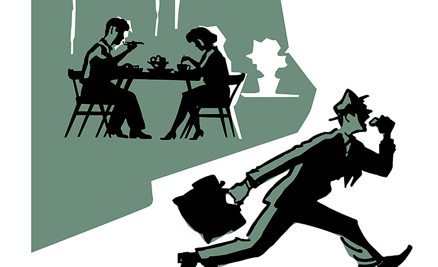 Cartoon of Couple Dining and Businessman Running