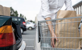 Shopper Loading Grocery Bags Into Trunk