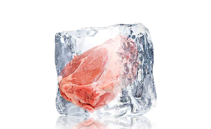 Frozen Meat in Ice Block