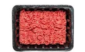 ground beef in a tray