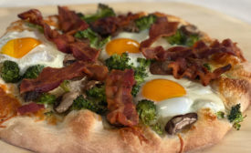 bacon, egg, veggie pizza