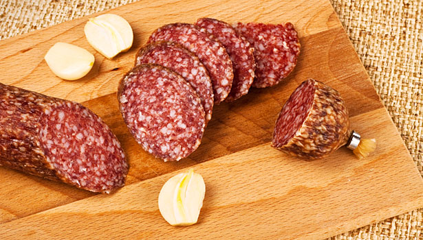 ppepperoni, salami, spices, ingredients that add flavor