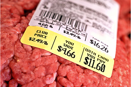 meat label, weighing