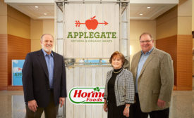 Neil Leinwand and Kerry Collins of Applegate join Tom Day of Hormel Foods in the Austin, Minn., headquarters.