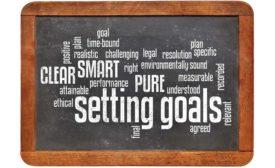 Chalkboard with Setting Goals Wordcloud
