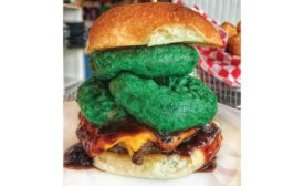 Hamburger with Green Onion Rings