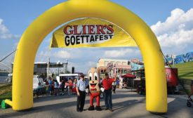 Dan and Dave Glier with Their Mascot Mr. Goetta
