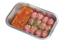 meatballs and sauce in tray