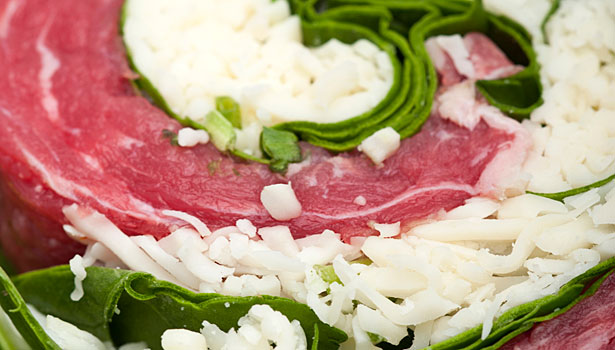 raw beef, beef with cheese and spinach