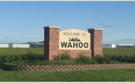 Welcome to Wahoo sign, Wahoo, Nebraska