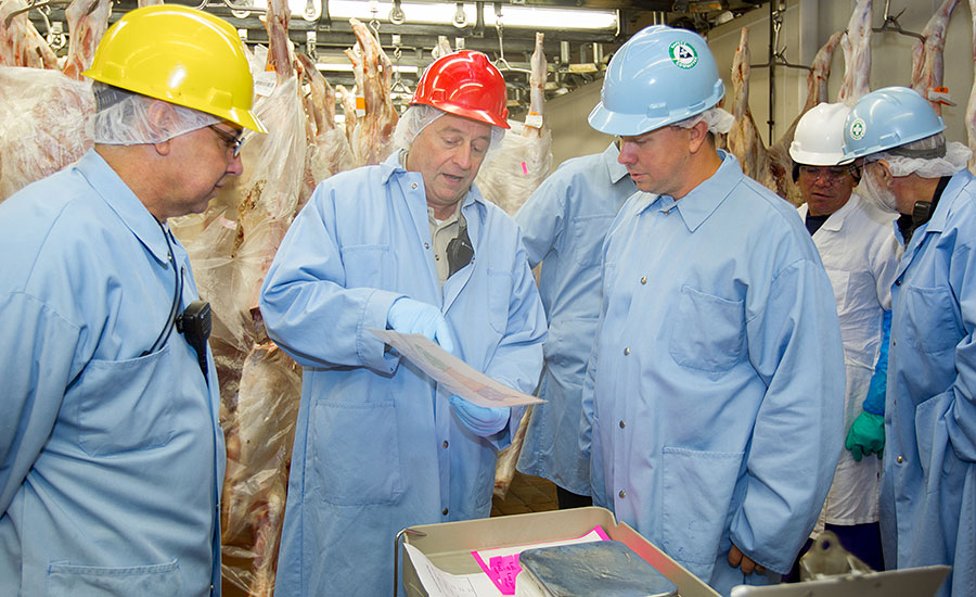 Rick Mesaris, QA/Food Safety manager for Marcho Farms, shows Andy Hanacek, editor-in-chief of <em>The National Provisioner</em>, the diagram of zones on the veal carcass that QA employees follow when taking carcass samples.