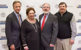 Tennessee Governor Bill Haslam, with Williams Sausage founder Hazel Williams and her sons, owners Roger and David Williams
